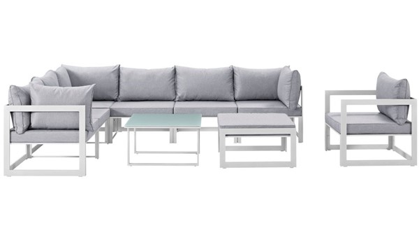 Modway Furniture Fortuna White Gray 9pc Outdoor Sectional Set EEI-1734-WHI-GRY-SET