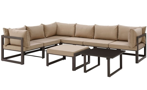 Modway Furniture Fortuna Brown Mocha 8pc Outdoor Sectional EEI-1735-BRN-MOC-SET