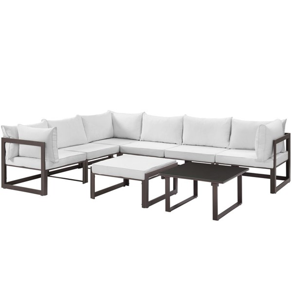 Modway Furniture Fortuna Brown White 8pc Outdoor Sectional EEI-1735-BRN-WHI-SET