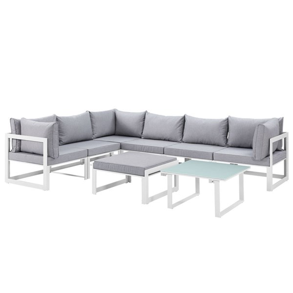 Modway Furniture Fortuna White Gray 8pc Outdoor Sectional EEI-1735-WHI-GRY-SET