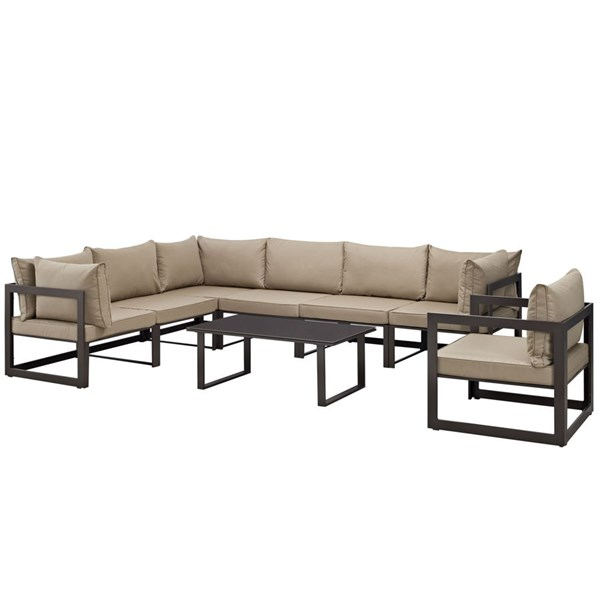Fortuna Brown Mocha Fabric Glass Aluminum 8pc Outdoor Sectional Sets EEI-1736-OS-SEC-VAR