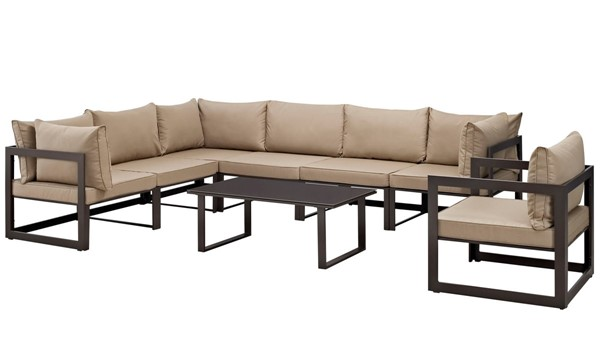 Modway Furniture Fortuna Brown Mocha 8pc Outdoor Patio Sectional EEI-1736-BRN-MOC-SET