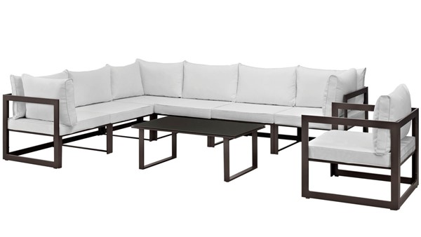 Modway Furniture Fortuna Brown White 8pc Outdoor Patio Sectional EEI-1736-BRN-WHI-SET