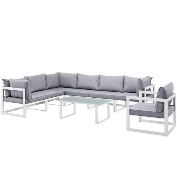Modway Furniture Fortuna White Gray 8pcOutdoor Patio Sectional EEI-1736-WHI-GRY-SET
