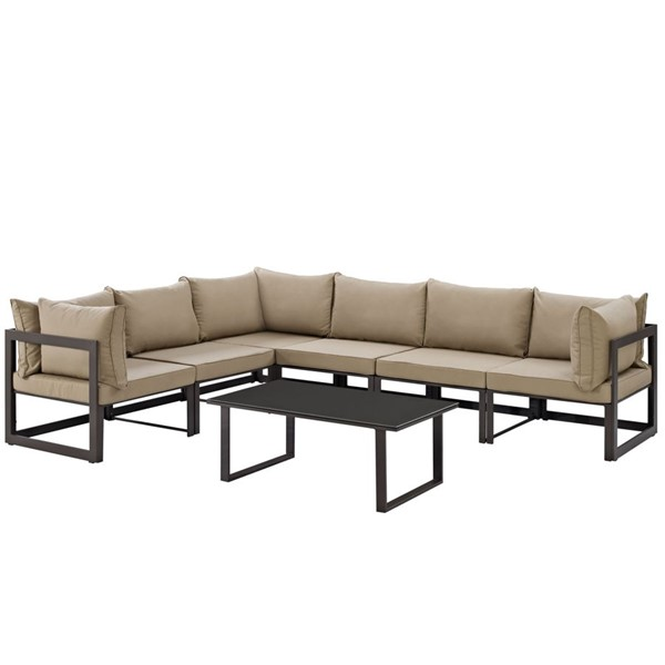 Modway Furniture Fortuna Brown Mocha 7pc Outdoor Patio Sofa Set EEI-1737-BRN-MOC-SET