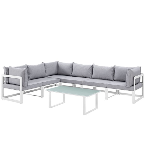 Fortuna White Gray Fabric Glass 7pc Outdoor Patio Sofa Set EEI-1737-WHI-GRY-SET