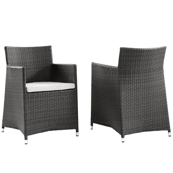 2 Modway Furniture junction Brown White Outdoor Wicker Armchairs EEI-1738-BRN-WHI-SET