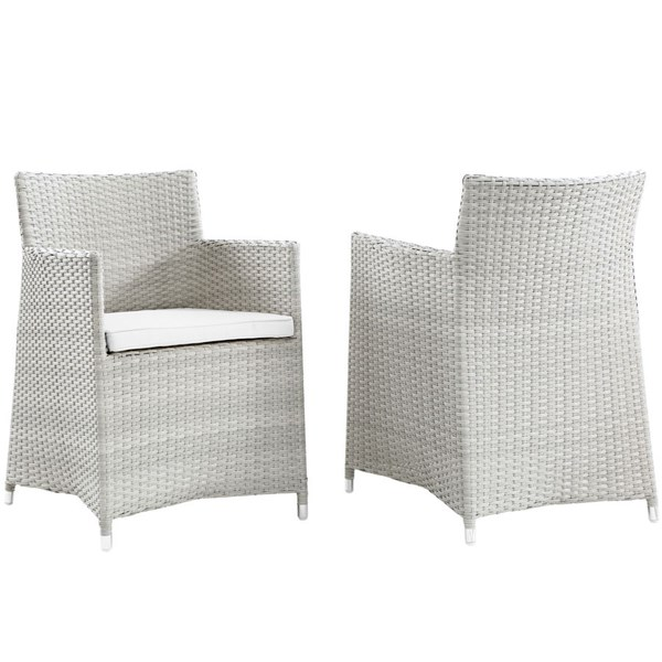 2 Junction Gray White Fabric Rattan Outdoor Patio Wicker Armchairs EEI-1738-GRY-WHI-SET