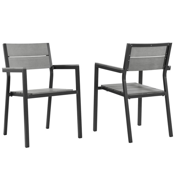 2 Modway Furniture Maine Brown Gray Dining Outdoor Armchairs EEI-1739-BRN-GRY-SET