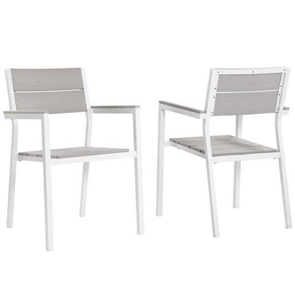 2 Modway Furniture Maine White Light Gray Dining Outdoor Armchairs EEI-1739-WHI-LGR-SET