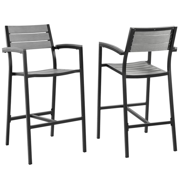 2 Modway Furniture Maine Brown Gray Outdoor Bar Stools EEI-1740-BRN-GRY-SET