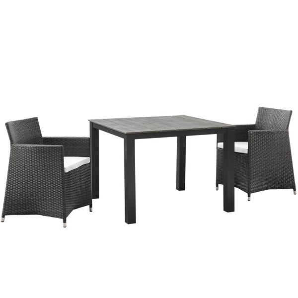 Junction Brown Fabric Wood Rattan 3pc Outdoor Patio Wicker Dining Set EEI-1742-BRN-WHI-SET