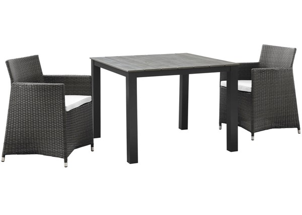 Modway Furniture junction Brown White 3pc Outdoor Wicker Dining Set EEI-1742-BRN-WHI-SET