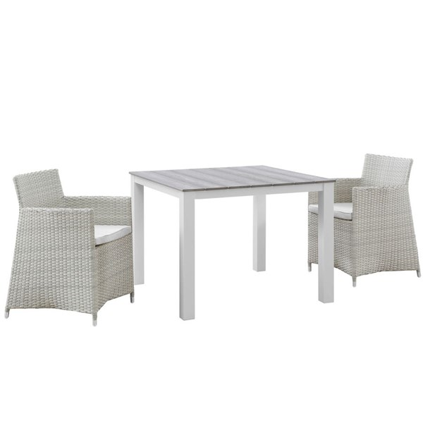 Modway Furniture junction Gray White 3pc Outdoor Wicker Dining Set EEI-1742-GRY-WHI-SET