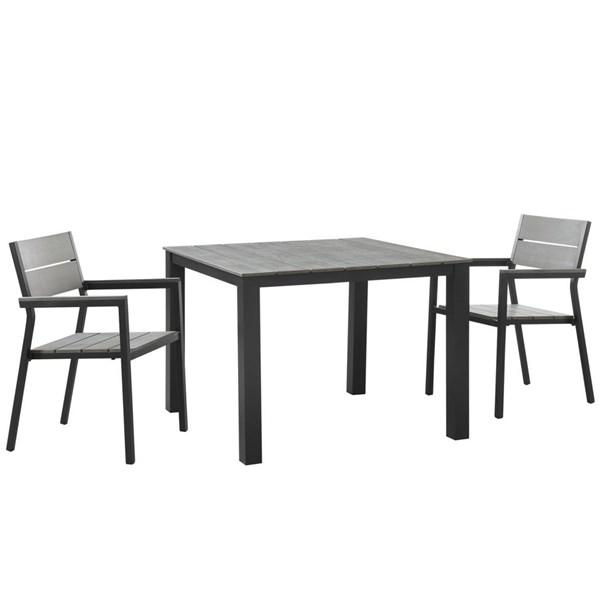 Maine Brown Gray Wood Aluminum 3pc Outdoor Patio Dining Set EEI-1743-BRN-GRY-SET