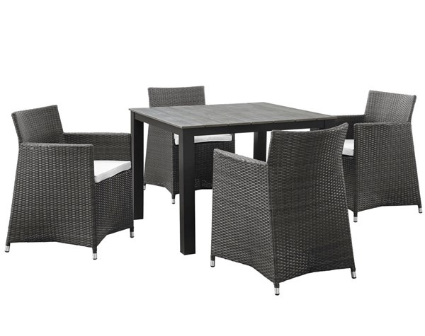 Modway Furniture junction Brown White 5pc Square Outdoor Dining Set EEI-1744-BRN-WHI-SET