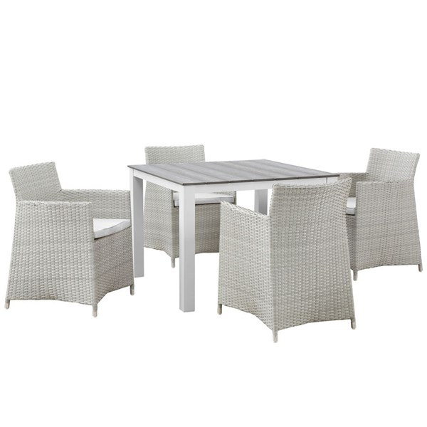 Junction Gray White Fabric Wood Rattan Square 5pc Outdoor Dining Set EEI-1744-GRY-WHI-SET