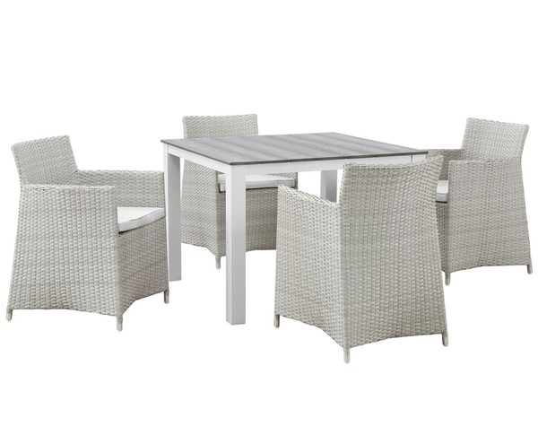 Modway Furniture junction Gray White 5pc Square Outdoor Dining Set EEI-1744-GRY-WHI-SET