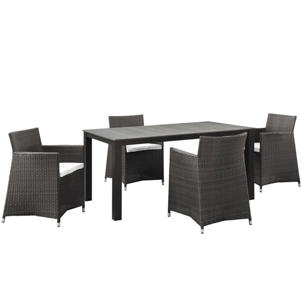 Junction Brown White Fabric Rattan Rectangle 5pc Outdoor Dining Sets EEI-1746-OD-DS-VAR