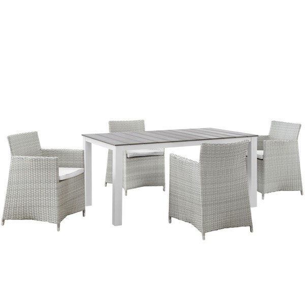 Modway Furniture junction Gray White 5pc Rectangle Outdoor Dining Set EEI-1746-GRY-WHI-SET