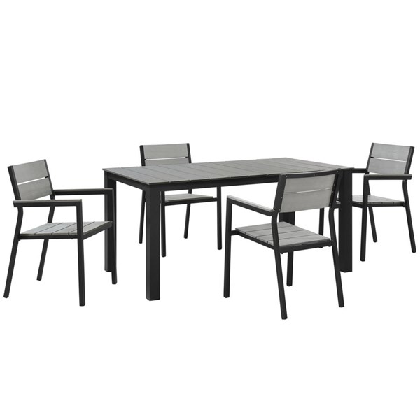 Maine Modern Brown Gray Wood Aluminum 5pc Outdoor Patio Dining Set EEI-1747-BRN-GRY-SET