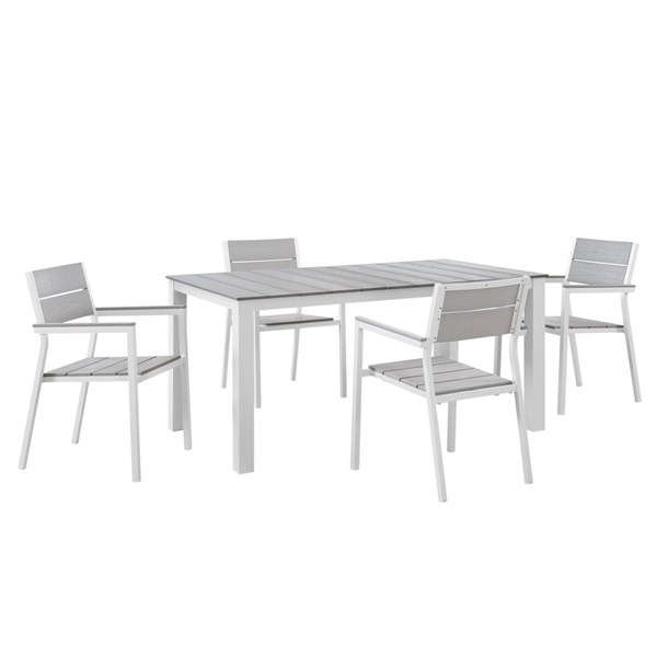 Modway Furniture Maine White Light Gray 5pc Outdoor Dining Set EEI-1747-WHI-LGR-SET