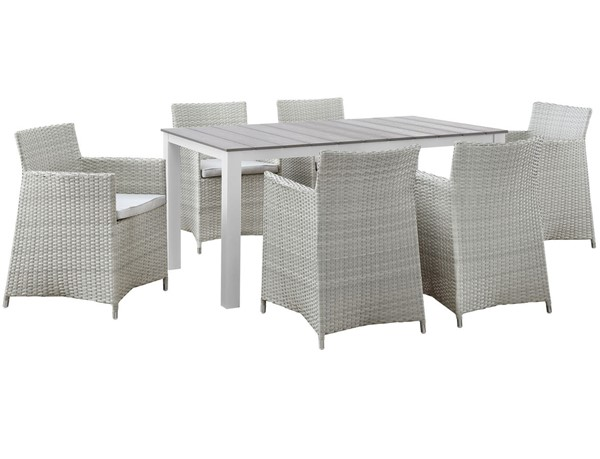 Modway Furniture junction Gray White 7pc Outdoor Dining Set EEI-1748-GRY-WHI-SET