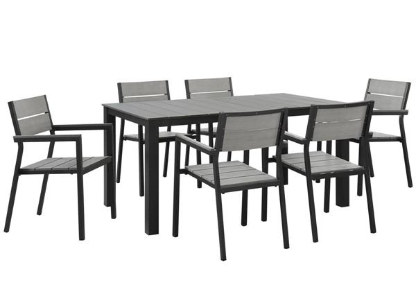 Modway Furniture Maine Brown Gray 7pc Outdoor Dining Set EEI-1749-BRN-GRY-SET