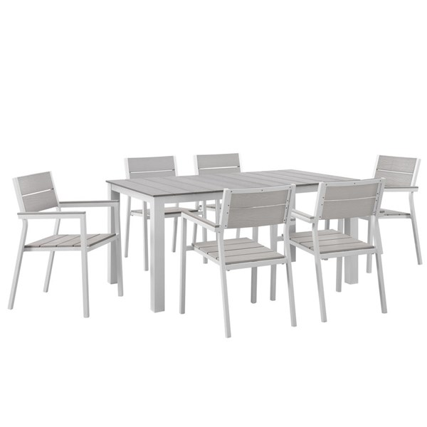 Modway Furniture Maine White Light Gray 7pc Outdoor Dining Set EEI-1749-WHI-LGR-SET