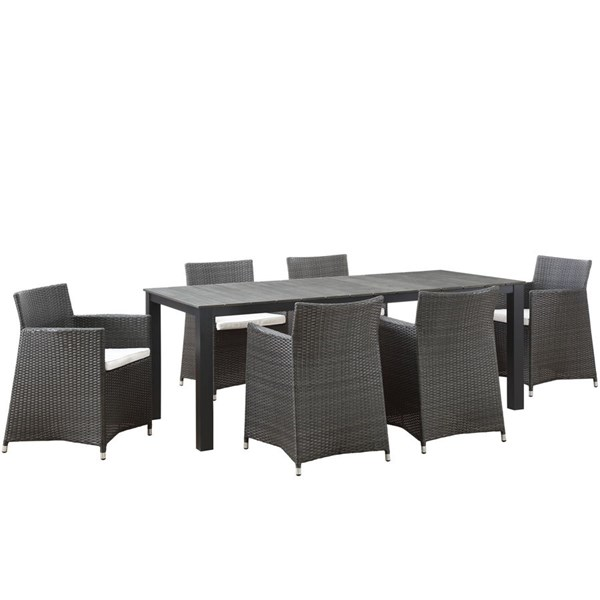 Junction Brown White Fabric Wood Rattan 7pc Outdoor Patio Dining Set EEI-1750-BRN-WHI-SET