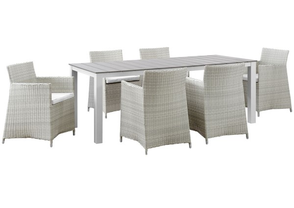 Modway Furniture junction Gray White 7pc Outdoor Patio Dining Set EEI-1750-GRY-WHI-SET