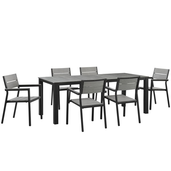 Maine Modern Brown Gray Wood Aluminum 7pc Outdoor Patio Dining Sets EEI-1751-OD-DS-VAR
