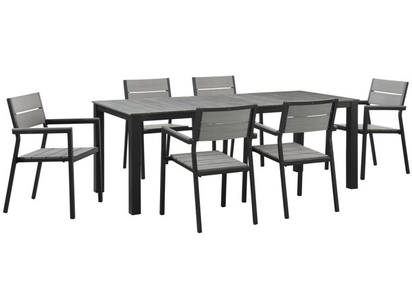Modway Furniture Maine Brown Gray 7pc Outdoor Patio Dining Set EEI-1751-BRN-GRY-SET