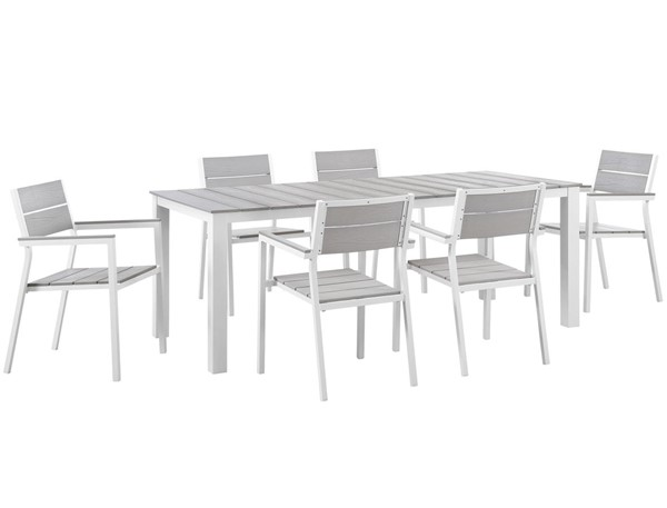 Modway Furniture Maine White Light Gray 7pc Outdoor Patio Dining Set EEI-1751-WHI-LGR-SET