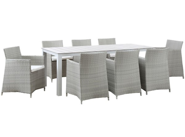 Modway Furniture junction Gray White 9pc Outdoor Dining Set EEI-1752-GRY-WHI-SET