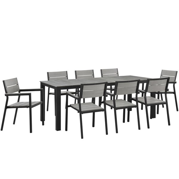 Maine Modern Brown Gray Wood Aluminum 9pc Outdoor Patio Dining Sets EEI-1753-OD-DS-VAR
