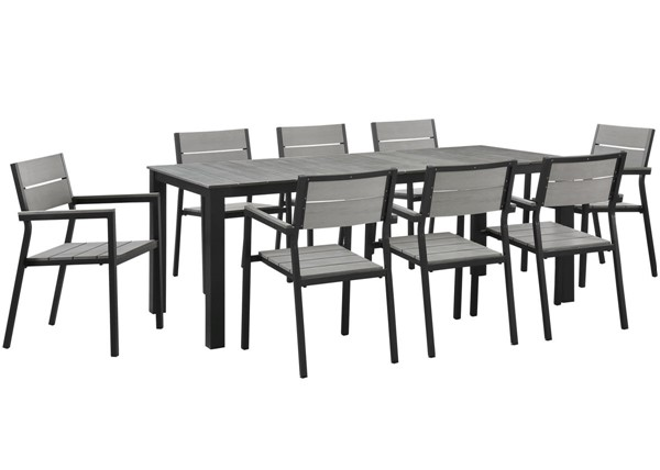 Modway Furniture Maine Brown Gray 9pc Outdoor Patio Dining Set EEI-1753-BRN-GRY-SET
