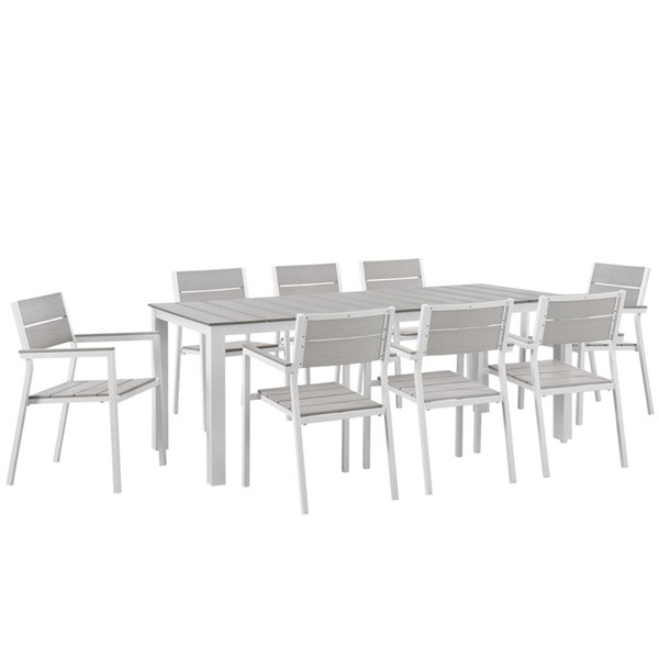 Maine Modern White Light Gray Wood 9pc Outdoor Patio Dining Set EEI-1753-WHI-LGR-SET