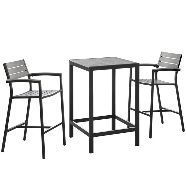 Maine Brown Gray Wood 3pc Outdoor Patio Bar Set EEI-1754-BRN-GRY-SET
