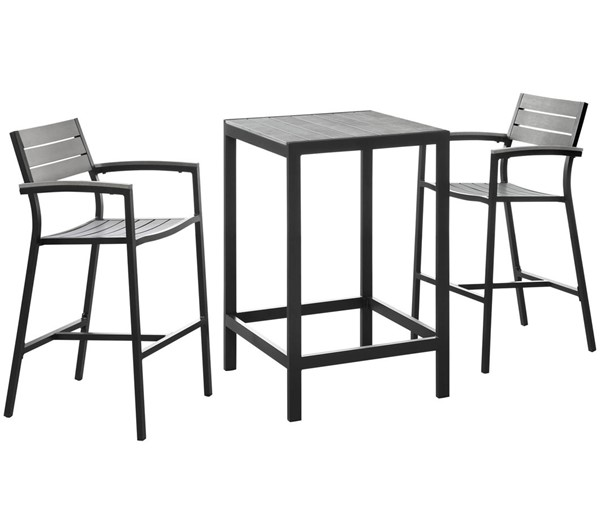 Modway Furniture Maine Brown Gray 3pc Outdoor Bar Set EEI-1754-BRN-GRY-SET