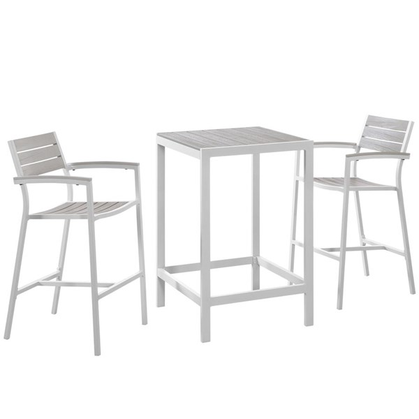Maine White Light Gray Wood 3pc Outdoor Patio Bar Set EEI-1754-WHI-LGR-SET