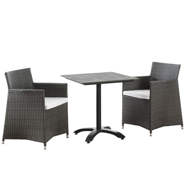 Junction Brown White Fabric Wood Rattan 3pc Outdoor Patio Dining Sets EEI-1758-OD-DS-VAR