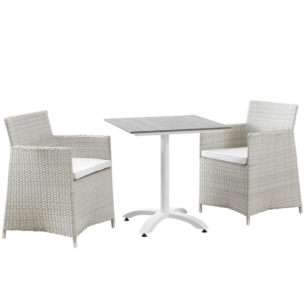 Junction Gray White Fabric Wood Rattan 3pc Outdoor Patio Dining Set EEI-1758-GRY-WHI-SET