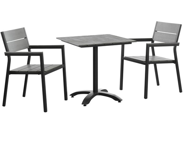 Modway Furniture Maine Brown Gray 3pc Outdoor Dining Set EEI-1759-BRN-GRY-SET