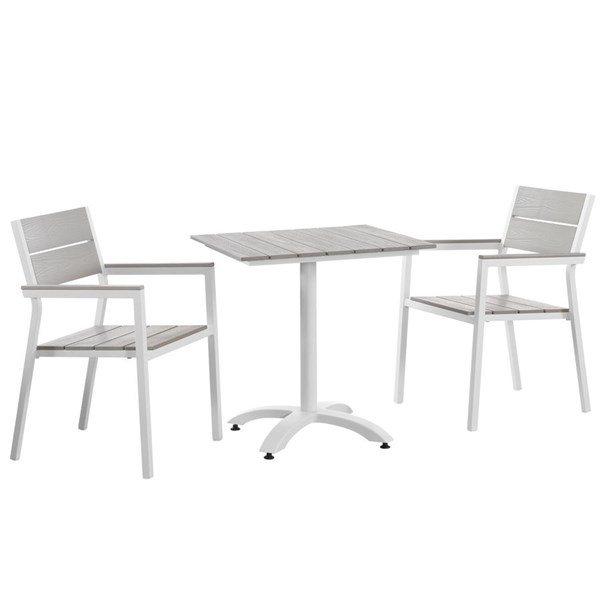 Modway Furniture Maine White Light Gray 3pc Outdoor Dining Set EEI-1759-WHI-LGR-SET