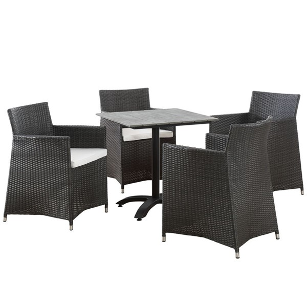 Modway Furniture junction Brown White 5pc Outdoor Dining Set EEI-1760-BRN-WHI-SET