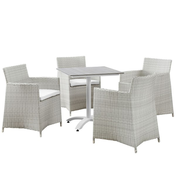 Junction Gray White Fabric Wood Rattan 5pc Outdoor Patio Dining Set EEI-1760-GRY-WHI-SET