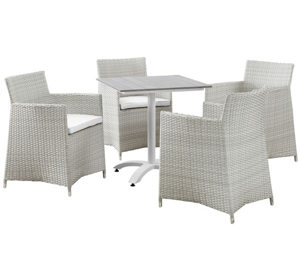 Modway Furniture junction Gray White 5pc Outdoor Dining Set EEI-1760-GRY-WHI-SET