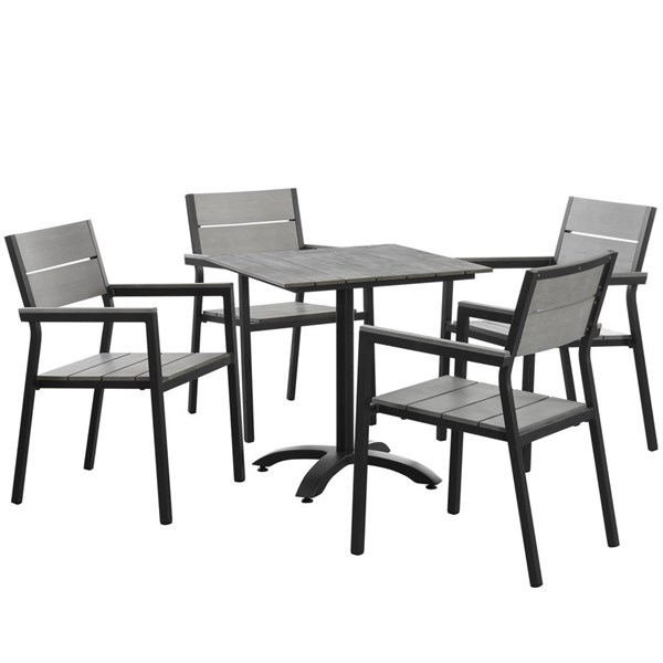 Maine Modern Brown Gray Wood Plastic 5pc Outdoor Patio Dining Set EEI-1761-BRN-GRY-SET