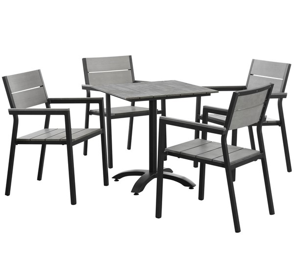 Modway Furniture Maine Brown Gray 5pc Outdoor Patio Dining Set EEI-1761-BRN-GRY-SET